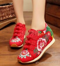 Chinese floral embroidered Womens hidden wedge heel sport shoes sneakers Casual