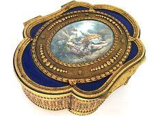 Antique French Bronze Dore Ormolu BOX Blue Guilloche Enamel Miniature Paint