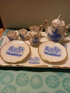 1/12th Scale Dolls House Reutter Porzellan Blue & Gold Tea Set. Delft Style