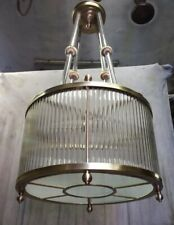 ANTIQUE VINTAGE ART DECO BRASS & GLASS ROD CEILING FIXTURE LIGHT CHANDELIER LAMP