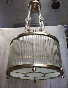 ANTIQUE VINTAGE ART DECO BRASS & GLASS ROD CEILING FIXTURE LIGHT CHANDELIER LAMP
