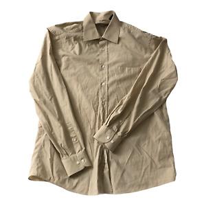 Hugo Boss Dress Shirt Mens Size Large 16 Tan Button Up Long Sleeve Cotton Shirt