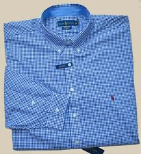 New 2XB 2XL BIG POLO RALPH LAUREN Men button down dress shirt blue gingham 2X 18