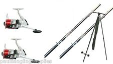 2 x 12ft Beach / Beachcaster Sea Fishing Rods + 2 Silk 70 Reels Tripod / Rest