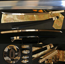 "41"" Handmade Japanese Samurai Sword Katana Folded Steel Blade Hawk Brass Tsuba"