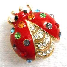 Navachi Ladybug Red Enamel Colorful Crystal Beetle Bug Brooch Pin BH7239