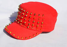 Nicki Minaj Adjustable Red Studded Military Baseball Cadet Gold Studs Cotton Hat