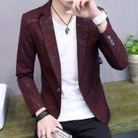 Men Casual Blazer Korean Slim Fit Youth Printing Handsome Casual Jackets Coat Sz