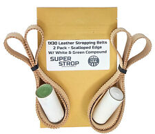 1X30 Super Strop Scalloped Edge Leather Honing Polishing Belt 2 Pack & Compound