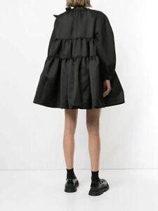 SHUSHU/TONG NEW Bow Collar Tiered Flared Mini Dress UK 12 Black Satin Voluminous
