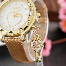 Ladies Crystal Bracelet Wrist Watch with Pendant Heart Dial Quartz Dress Watch