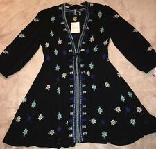 FREE PEOPLE Women's Stargazer Embroidered, Black Combo Dress, Size Small, New!