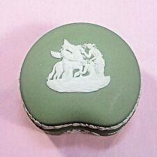 "Wedgewood Jasperware kidney-shape trinket box/dish, lid green England 3"" #1 ᵇ p2"