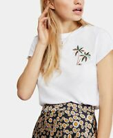 Free People Womens Shirt White Size Small S Beachy Keen Crewneck Blouse $58 #008