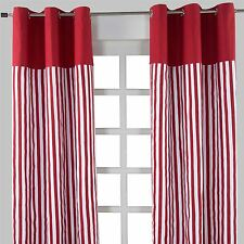 Homescapes Pair of 100 Cotton Ready Made Curtains - 1 Thick Stripe - Red - 137