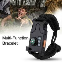 Outdoor Survival Bracelet Whistle Compass LED Flashlight Paracord Bracelet