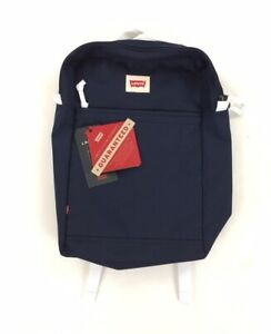 NEW Levi's Strauss L Pack Slim Backpack Bag Navy Blue White Adjustable NWT