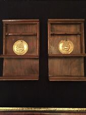 2 X Miniature Vintage Wooden Welsh Dressers With Mini Brass Plates