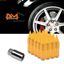 M12X1.5 Orange JDM Hex Spiked Cap Wheel Lug Nuts+Extension 20mmx90mm Tall 20Pc