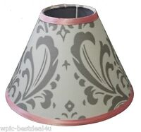 Lamp Shade - Grey Damask by Sisi