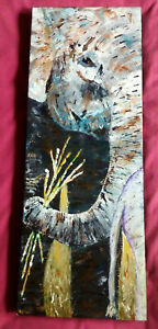 """SALE! MAKE AN OFFER SPECIAL:ELEPHANT MOTHER AND CHILD """"MINI MASTERPIECE"""" 80X30"""