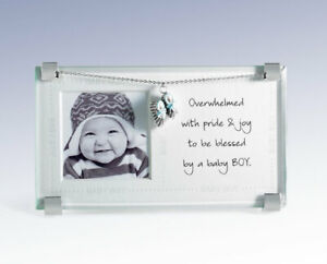 """New  BAY BOY Picture Frame w Baby Bootie Charm - holds 2-1/4"""" square photo"""