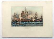 Vintage DURAND BRAGER Amiral Villaret Joyeuse 1844 Hand Colored Lithograph #Z234