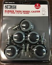 "Wheel Casters Twin Rubber Swivel Wheel 1-9/16"" 55lbs Per Caster 5-pack Norge 95"