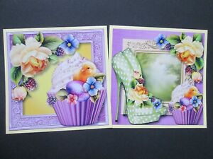 99P OFFER ====  2 x EASTER CHICK CUPCAKES Card Toppers & Sentiments