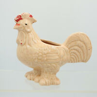 """5 1/2"""" Very Detailed Peach Rooster Hen Chicken Ceramic Planter Figurine Vintage"""