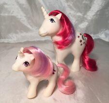 "Adorable Vintage G1 My Little Pony MLP ""Moondancer"" Unicorn Stars Mom & Baby Set"