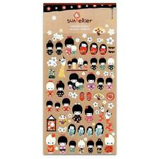 CUTE KOKESHI STICKERS Japanese Doll Kawaii Sticker Sheet Craft Scrapbook Seal