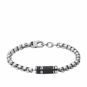 FOSSIL Mens Bracelet CARAVAN JF03687040 Stainless Steel Black