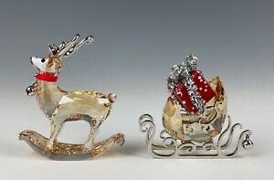 Swarovski Crystal Winter Reindeer & Sleigh Figurine Mint In Box!!