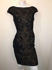THEIA Black Dress Baroque Lace Applique Crepe Cocktail Cap Sleeve Black Champagn