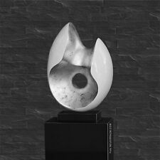 ELEGANTE ABSTRACTO Escultura Mate Blanco EMBUTIDO ANTIGUO Gris Mármol columna de