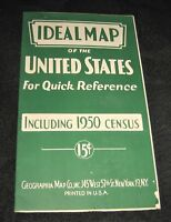 Vintage 1950 Ideal map of the United States Including 1950 Census data