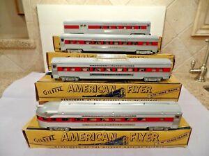 Gilbert American Flyer S Gauge 960/1/2/3 Red Stripe Passenger Cars in OB's - EXC