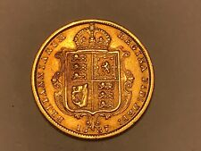 More details for 1887 london mint half sovereign jubilee head 22ct gold shield back. scarce