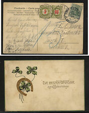 Germany  post card to Switzerland with postage due stamps 1908          DA0526