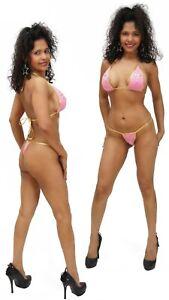 Thong Bikini, Pink w Gold Application - Small