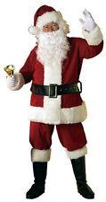 2 x Deluxe 8 Piece Velour Santa Suit Father Christmas Xmas Fancy Dress Costume