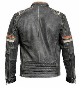 Men's Motorcycle Vintage Distressed Black Real Leather Biker Café Racer Jacket