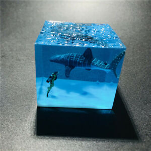 Diver Whale Shark Ornaments Luminous Ocean Model Collectible Toys Gift In Box