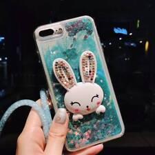 Dynamic Liquid Glitter Quicksand rabbit Phone Back Case Cover & neck strap #S2