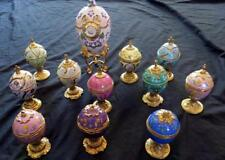 12 FRANKLIN MINT HOUSE of FABERGE MUSICAL EGG Porcelain Boxes + CLOCK Floral Lot