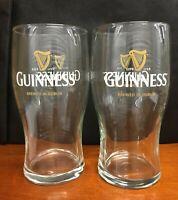 Set of 2 NEW Guinness 20oz Brewed In Dublin Irish Beer Pint Glasses plus BONUS