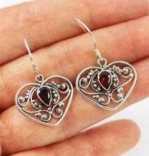 Unusual Solid 925 Sterling Silver, Red Garnet Heart Dangle / Drop Earrings + box