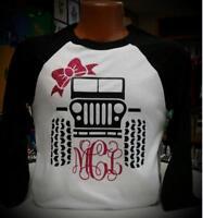 Women's Jeep Monogram with Bow. White Body w/ Black Sleeves