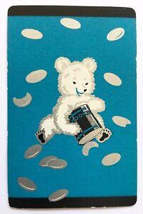 Vintage Swap/Playing Card - CUTE BEAR WITH COOKIE JAR